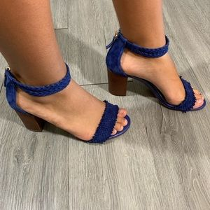 WHBM Royal Blue BRAIDED LEATHER CHUNKY Sandals